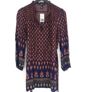 NWT FOREVER 21 Navy Floral Short Boho Tunic Dress